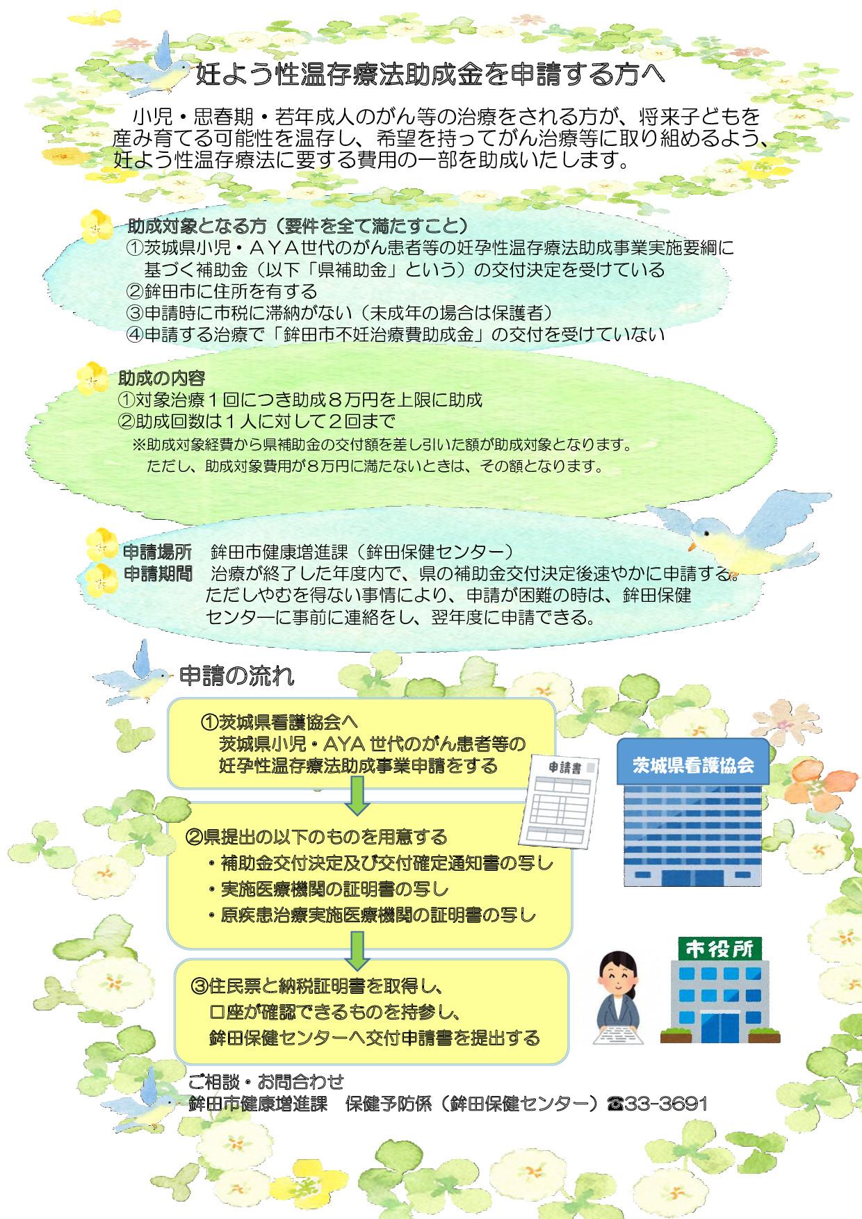 『妊よう性温存療法助成事業チラシ(1)』の画像